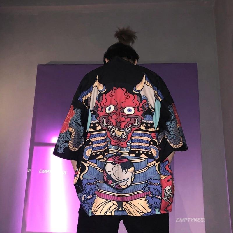 Кимоно для мужчин, традиционное японское кимоно, мужское кимоно, кардиган для мужчин, harajuku, уличная одежда, костюм самурая юката, мужской haori obi FF001A