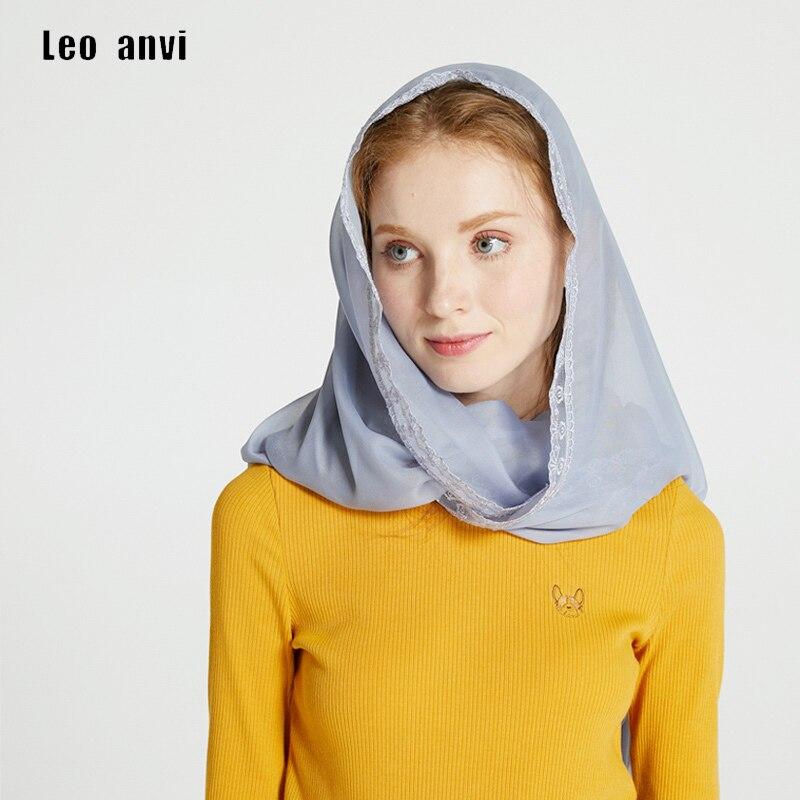 Женский шарф Leo anvi, шифоновый шарф-кольцо с кружевной вуалью, повязка на голову, накидка Мантилья, Латинская маска, однотонный, Infinity, мусульма...