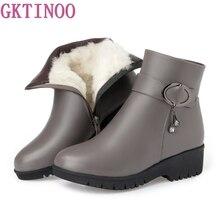GKTINOO Bottes de Neige En Cuir Souple chaussures pour femmes Mère Dames Femme Hiver Laine Fourrure Cales Bottes Chaudes grande taille 35-43