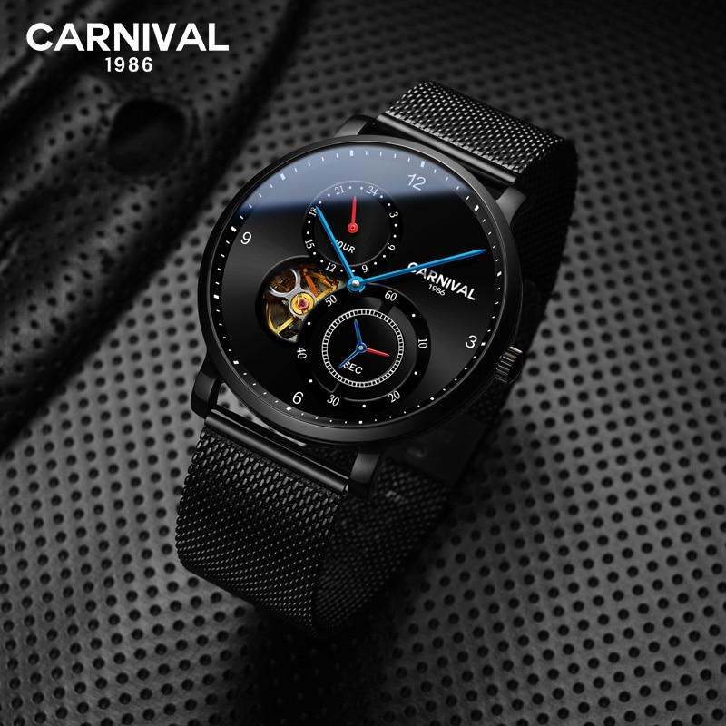 Relojes de hombre de carnaval, reloj mecánico automático, Turbillon, marca superior, reloj de pulsera de acero inoxidable hueco de lujo a prueba de agua