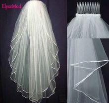 Remise!! Longueur de coude blanc ou ivoire 2 couches de mariée voile de mariée avec peigne 2017