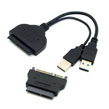 """Chenyang 1set USB 3,0 a SATA 22Pin y SATA a 16Pin Micro SATA adaptador para 1,8 """"2,5"""" Controlador de disco duro con alimentación USB Extral"""