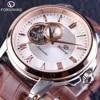 Forsining – montre de luxe pour hommes mouvement de luxe boîtier doré Rose étanche marron ceinture marque supérieure automatique