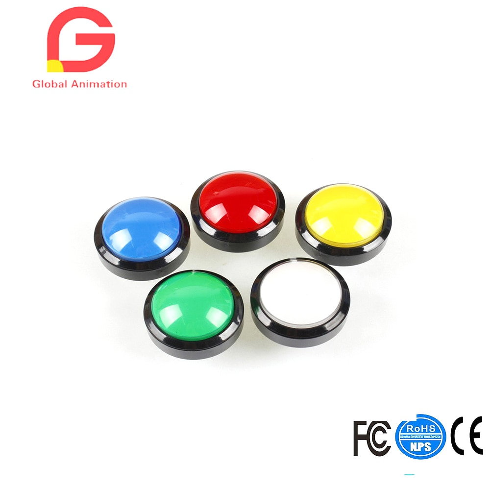 5x New 60mm Dome Shaped LED Illuminated Push Buttons For Arcade Coin Machine Operated Games