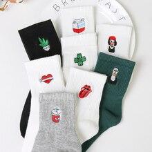 Funny Korean Women Girls Cute Cotton Crew Socks Kawaii  Lip  Girl Plant Pattern Harajuku Kawaii Novelty Ankle Sox Winter White