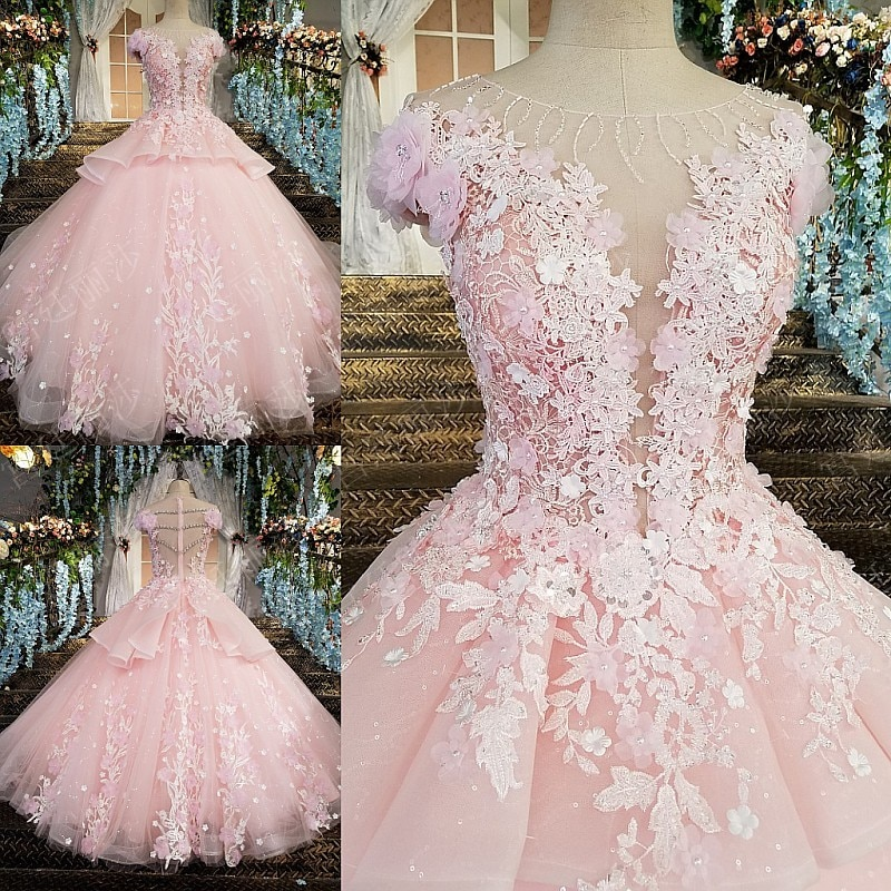 2020 primavera verão romântico flores de luxo rendas apliques glitter tule tiffany rosa casamento vestido baile vestidos de noiva
