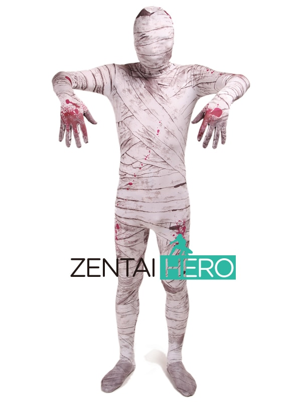 Envío Gratis DHL nuevo Zombie momia patrón teñido Lycra Spandex Zentai traje Cosplay Zentai Halloween traje para eventos LZ112231