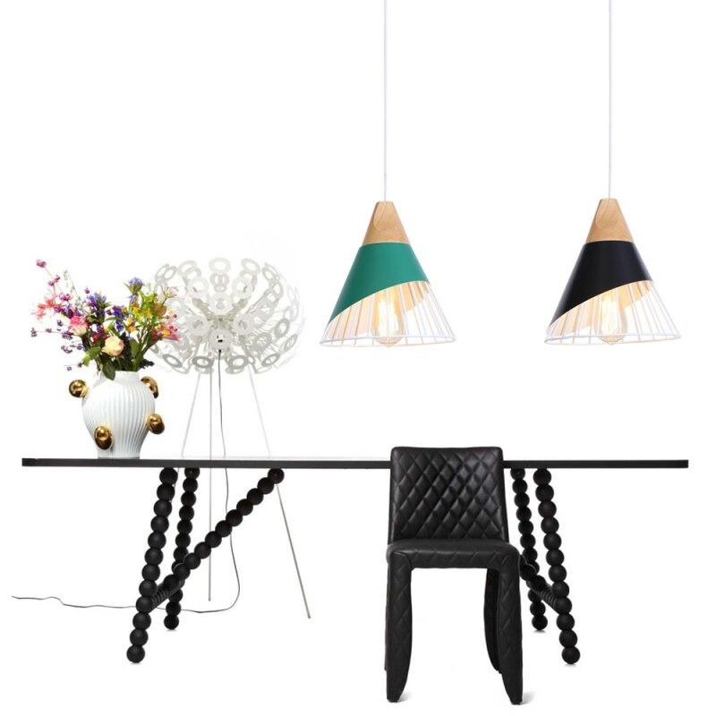 American Nordic Industrial wind Wood art color Single head Iron art chandelier Creative decoration Bar/hotel/restaurant E 27