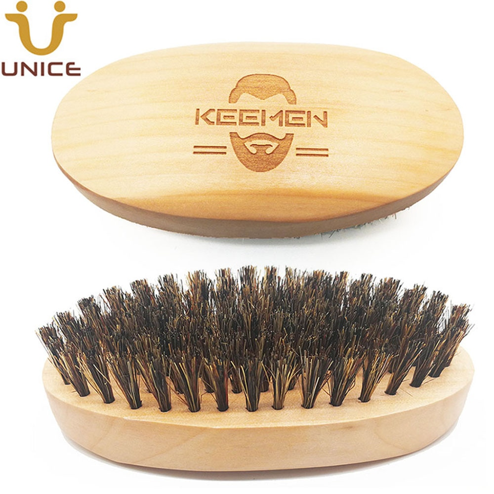 50pcs/lot Your LOGO Customized Boar Bristle Beard Brush Wood Brush Engrave LOGO Wooden Facial Cleaning Brush for Men Grooming