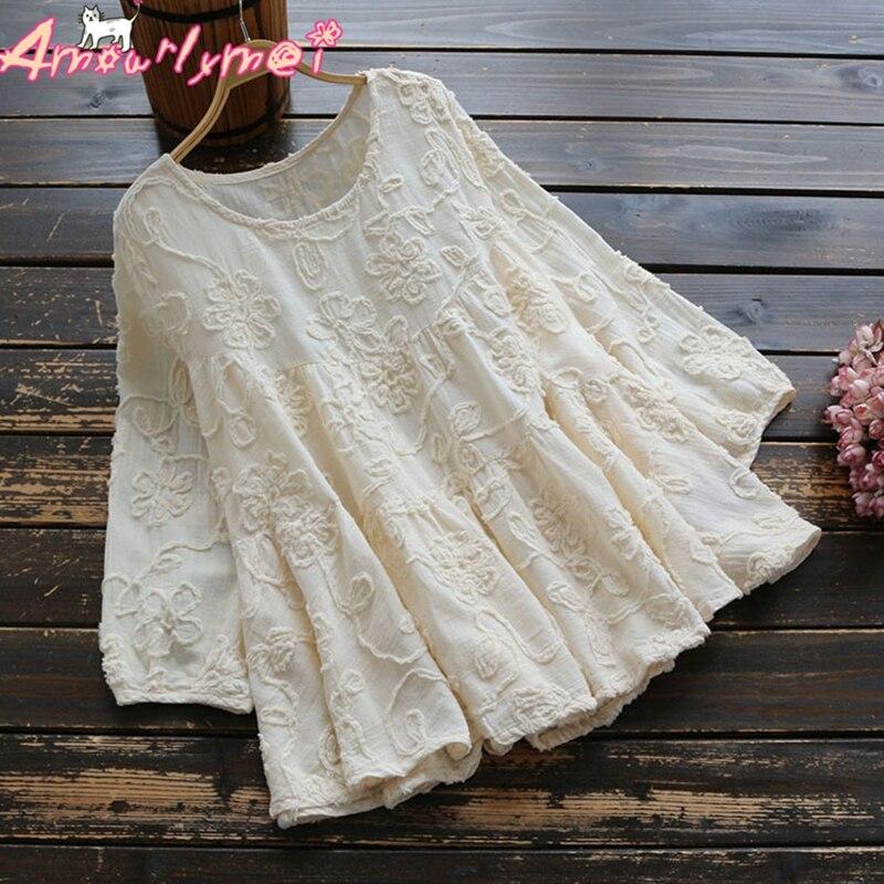 Verano Mujer camisa japonesa Mori chica algodón flor bordado encaje dulce suelta Casual blusa Mujer Tops Camisas Mujer