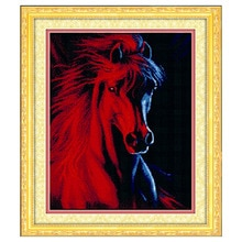 الإبرة ، diy dmc صليب غرزة ، عد التطريز مجموعات ، 3d الأحمر الحصان نمط عبر خياطة في الأسهم الساخن بيع