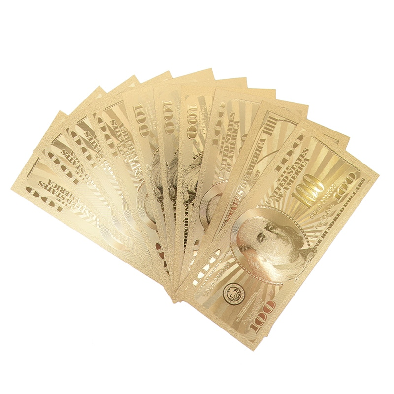 Billet dor des états-unis   10 pièces, Dollar 100, billet de monnaie, monnaie en papier, médaille 24k états-unis damérique