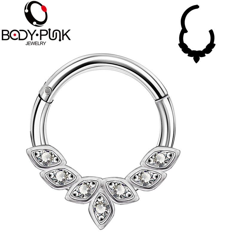Body Punk 1pc Daith Piercing Septum Nose Ring Stainless Steel Hinged Segment Clicker Hoop Nose Piercing Helix Earring Cartilage
