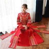 vintage style bride wedding dress red wedding complex costume for overseas chinese suzhou embroidery vestidos de casamento