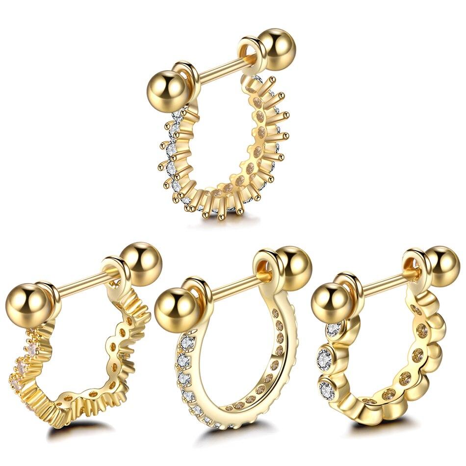 1 PC 20G Kupfer Gold Nase Ringe Barbell Mit CZ Hoop Knorpel Helix Edelstein Daith Rook Lappen Ohrring Ohr piercings Frauen Geschenk Schmuck
