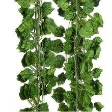 Guirlande de feuilles de lierre artificiel 5 pièces/lot   Fausses fleurs de vigne, décorations pour maison et mariage, 7.5 pieds