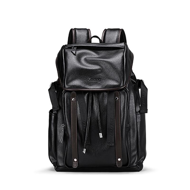 Mochila para ordenador portátil de cuero PU para hombre de gran capacidad, mochila para escuela, mochila para adolescentes