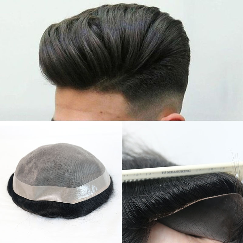 Mono Human Hair Toupee Hair Replacement For Men Straight Durable Hair System European Remy Hair Wigs Ever Beauty