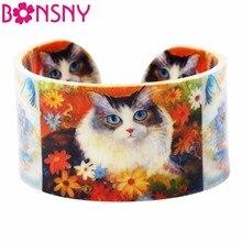 Bonsny Acrylic Wide love Flower Cat Kitten Bangles Bracelet Animal Jewelry For Women 2017 New Spring Summer Girls Accessories