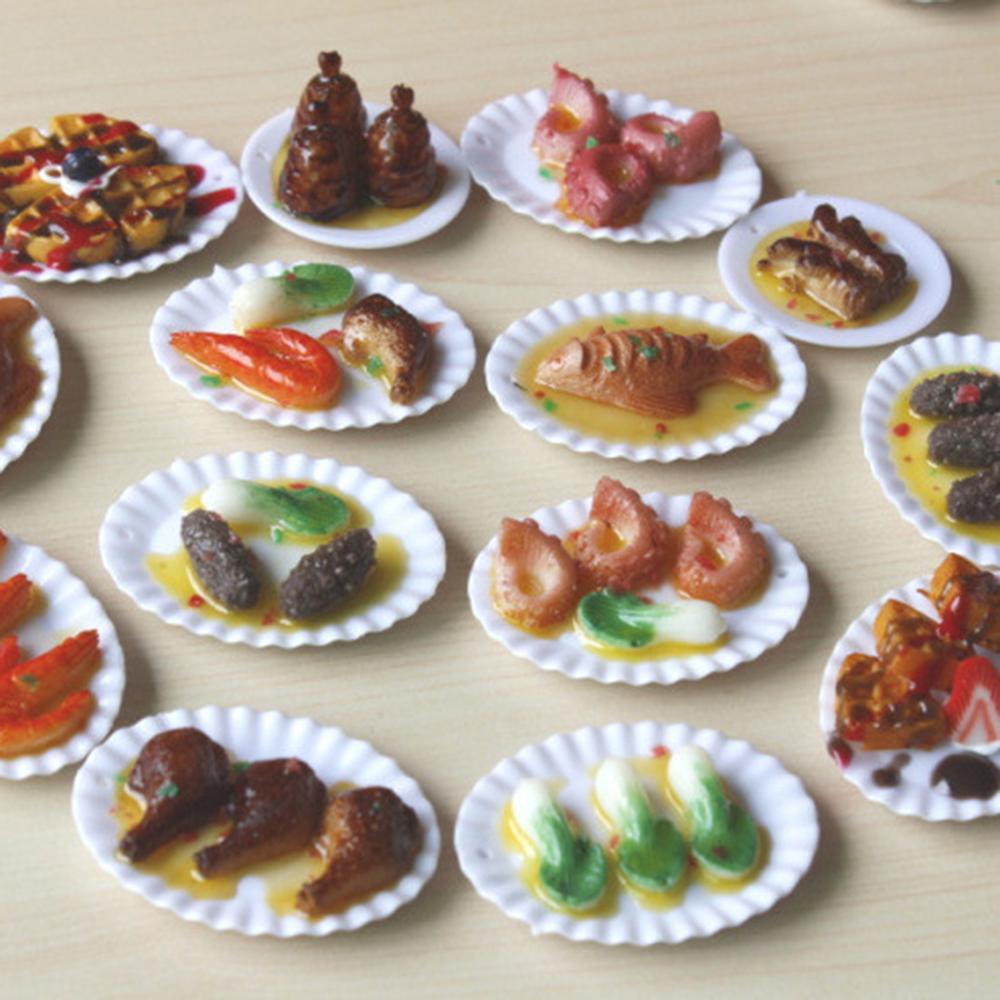 Подносы для кукольного домика, миниатюрные тарелки для кухни, 18 шт., декоративная столовая посуда игрушек, подарок для детей, девочек, аксесс...