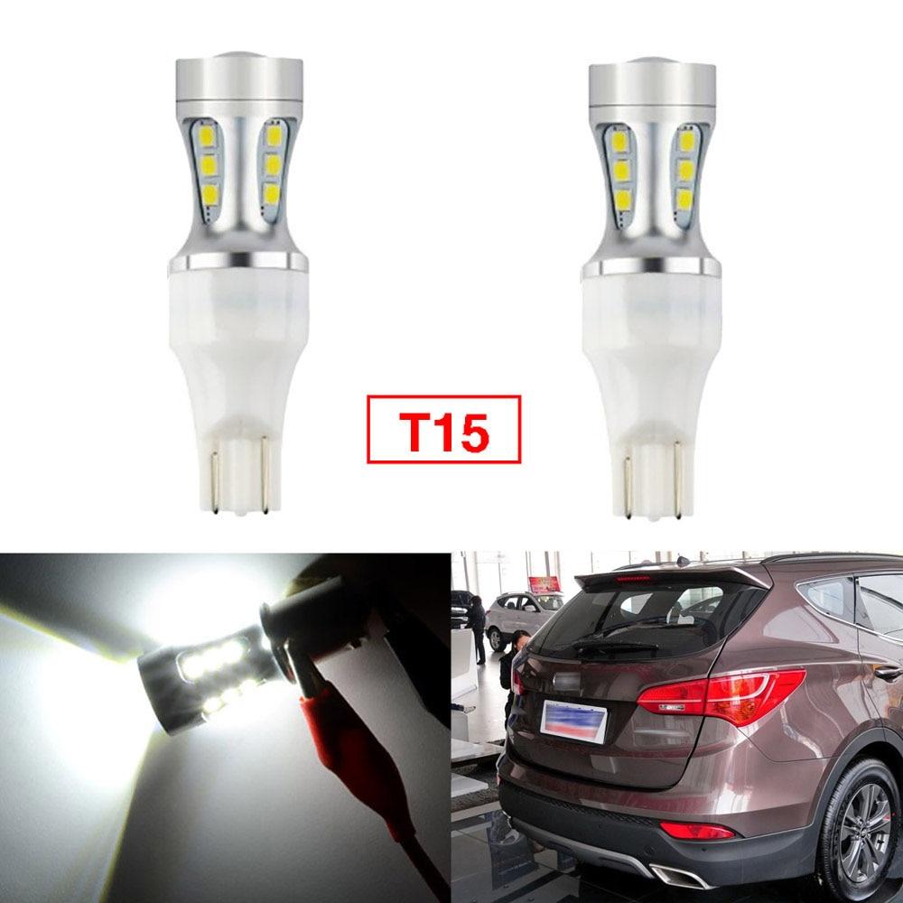 Ownsun 2 uds Error Free LED invertir T15 de bombillas para luz de marcha atrás para Hyundai Santa Fe 2013-2014