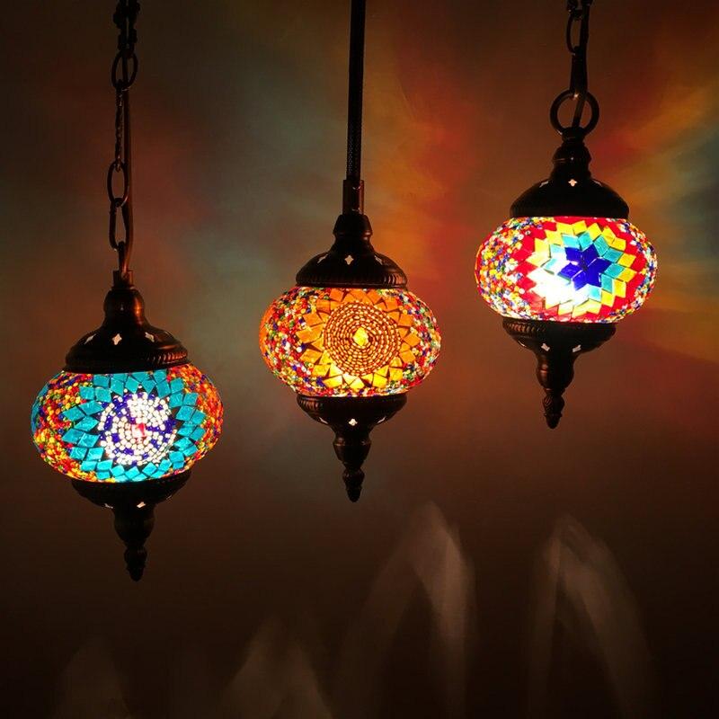Artpad в средиземноморском стиле Турецкая Подвесная лампа ручной работы стеклянные оттенки мозаичная Подвесная лампа для бара Кофейни E14
