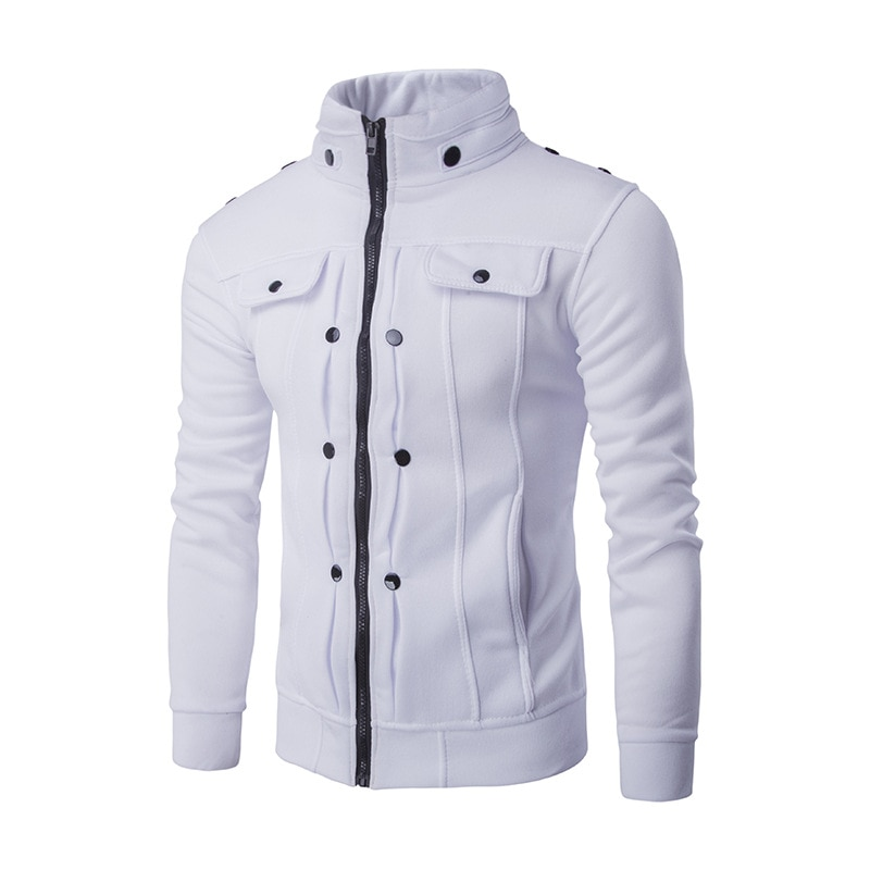 Mens Jackets Basic Coats Solid Color Jacket Male Casual Stand Collar Cotton Coat Zipper Slim Fit Out