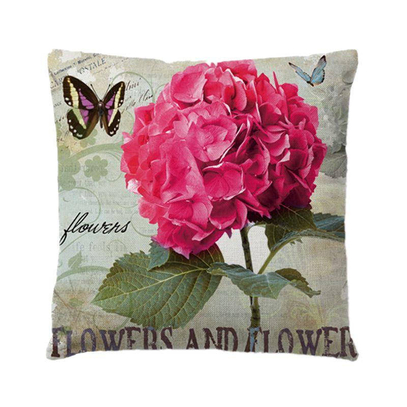 36 Styles Cotton Linen Plain Cushion Cover Retro Vintage Plant Pattern Pillow Cover Car Sofa Throw Home Decor