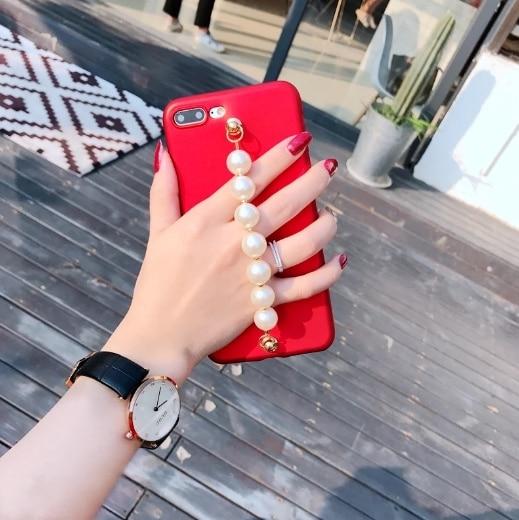 For iphoneX 8 8Plus 7 7plus 6 6s 6plus South Korea Luxury Chain Pearl Charm Glossy tpu phone case cover fundas