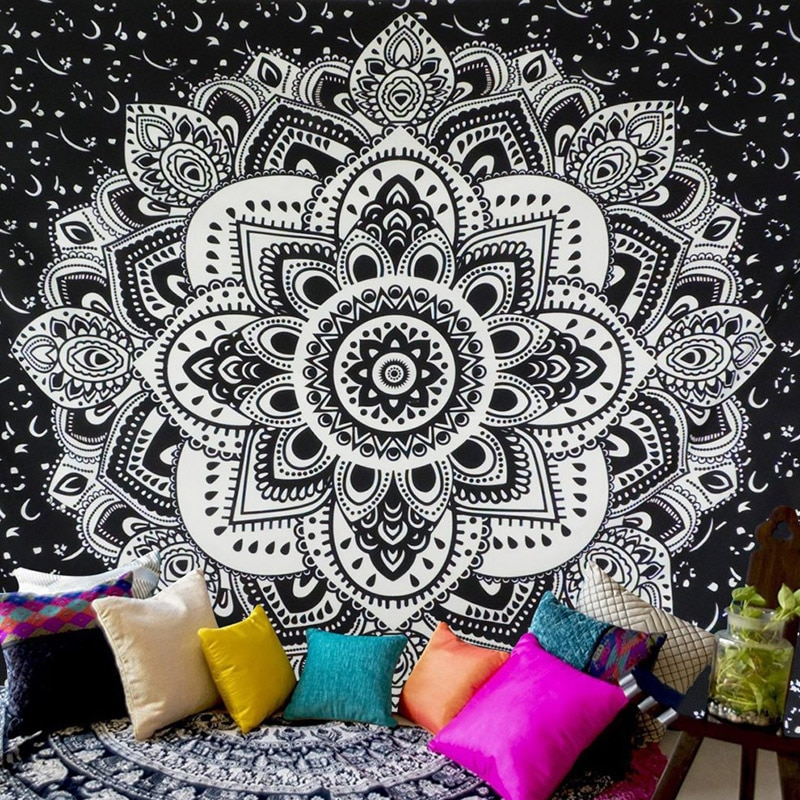 Envío de EE. UU. Chic mándala Bohemia alfombra Floral tapiz colgante de pared para decoración de pared estilo tribal