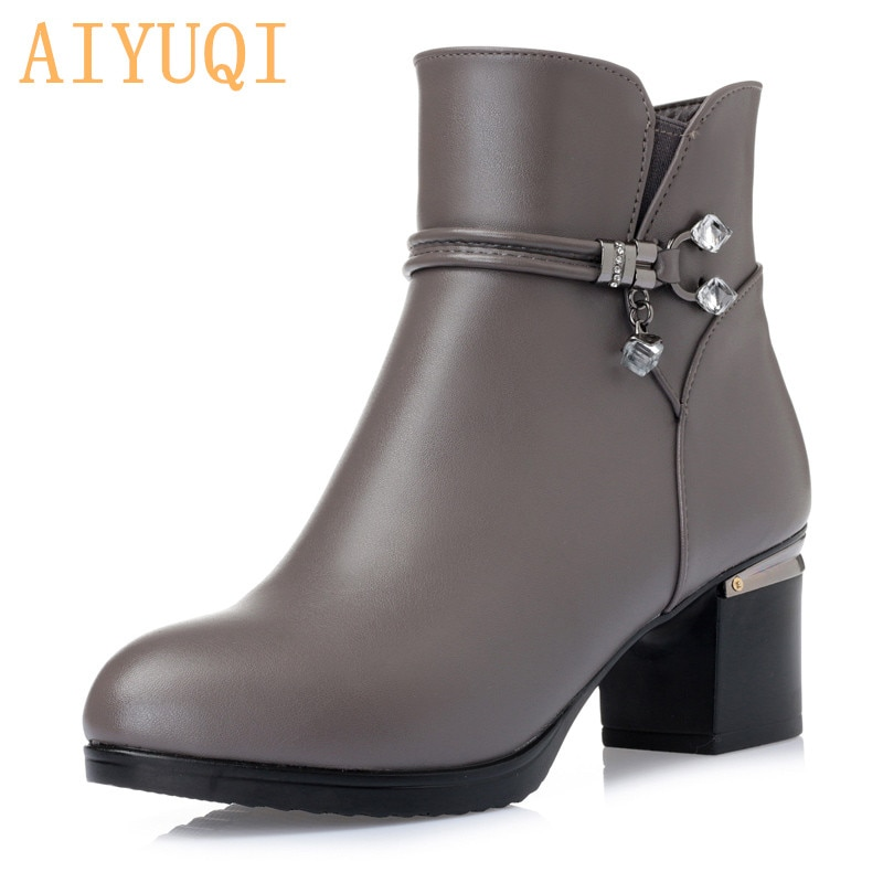 keaiqianjin woman crystal snow boots shearling winter genuine leather shoe golden silvery plus size 34 43 diamonds ankle boots AIYUQI  Winter wool Women Boots Genuine leather snow boots  slope with thick  warm ankle boots Women's boots plus size 35-43#
