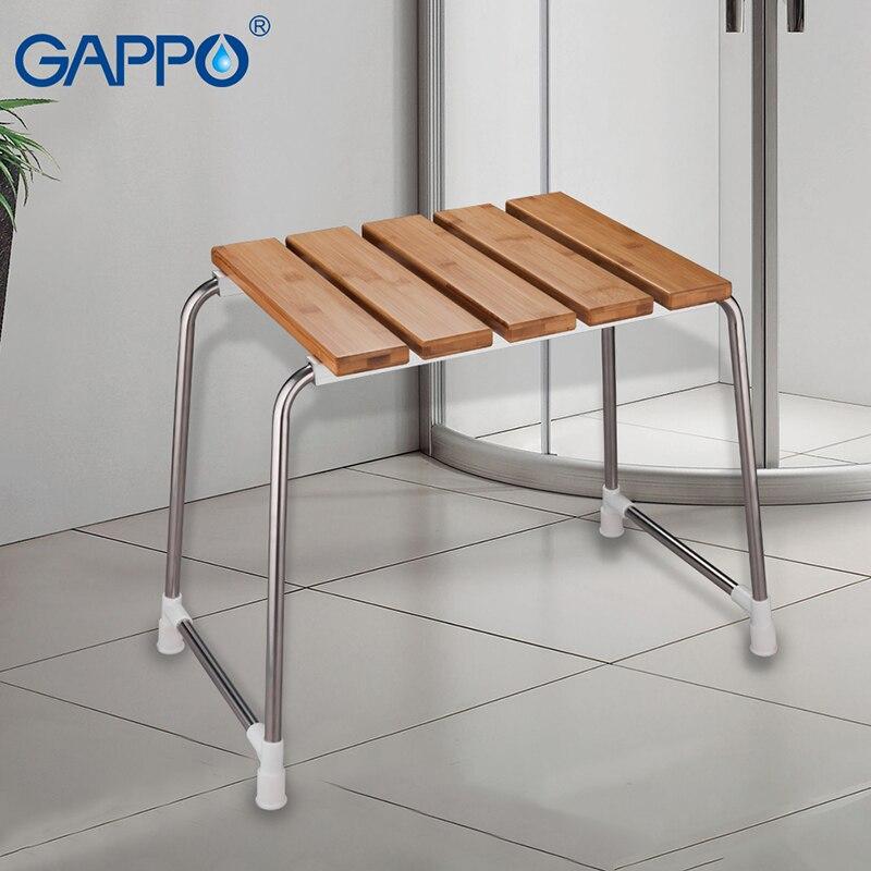 GAPPO-كرسي حمام من الفولاذ المقاوم للصدأ ، مقاعد قائمة بذاتها ، مقعد حمام من الخيزران ، كرسي دش