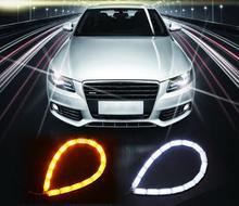 2 pcs Carro Flexível Branco/Âmbar Switchback LEVOU Knight Rider Faixa de Luz para Farol Pisca Sequencial Dupla Cor DRL transformar Sinal