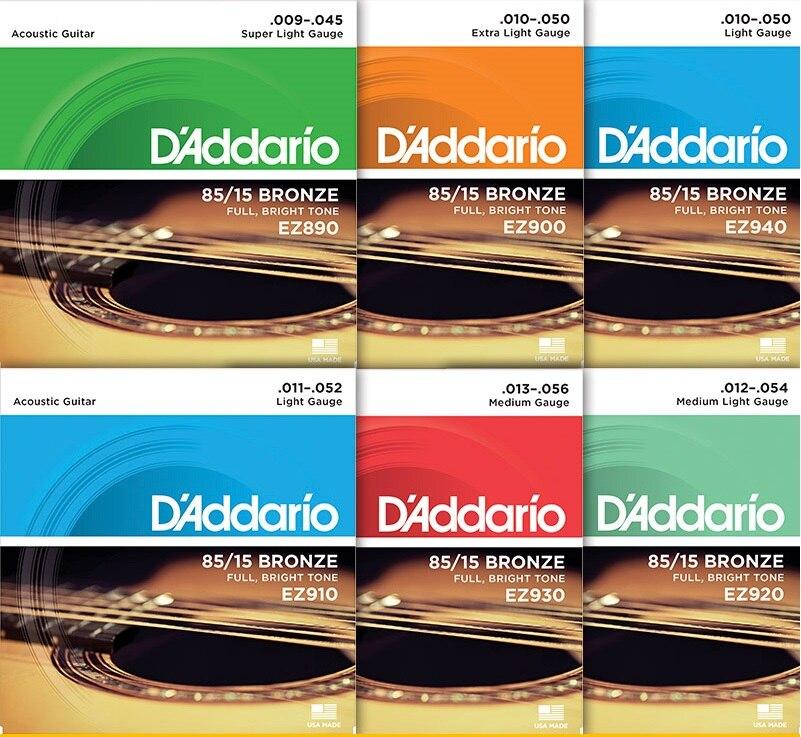 DAddario EZ910 EZ890 EZ900 EZ920 EZ930 Great American Bronze Acoustic Guitar Strings, Made in USA