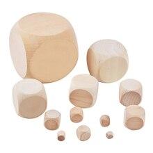 10 stücke Holz Würfel Unterhaltung Spiel Würfel Blank Gesichter für DIY Druck Gravur Kid Spielzeug Spiel 10mm 12mm 14mm 16mm 18mm 20mm Würfel