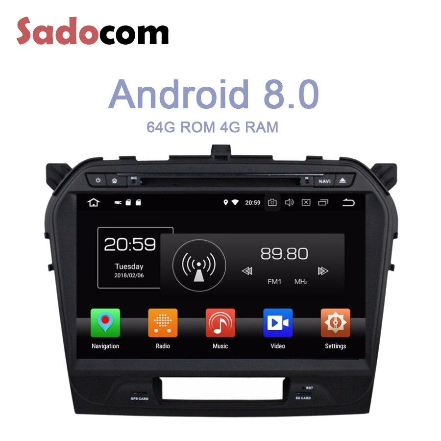 IPS Android 8,0 para SUZUKI Vitara 2015 2016 8 Core 4GB RAM 64G ROM multimedia reproductor de DVD del coche GPS Glonass Radio RDS Bluetooth 4,0
