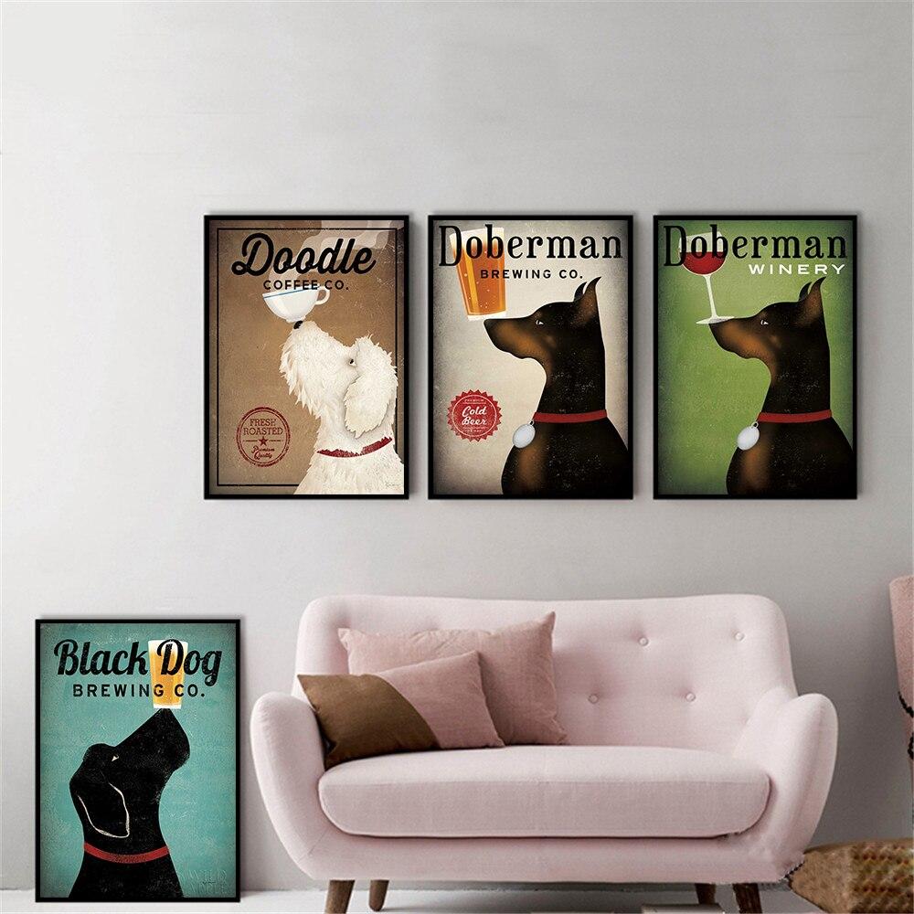 Настенные художественные ретро черные собаки овчарки Doberman напиток собака холст картинки для гостиной винтажный постер животные Cuadros Decoracion