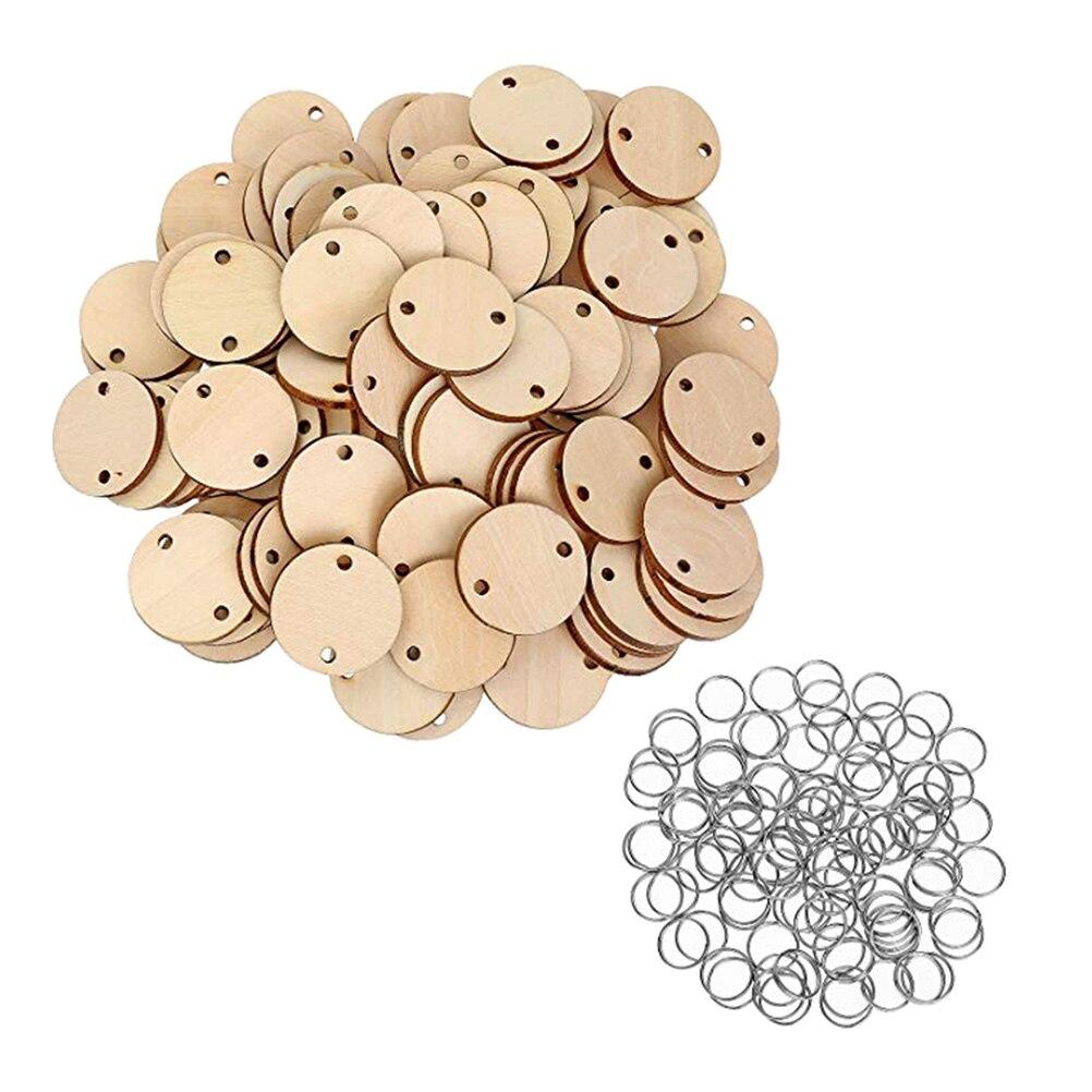 100 unidades de discos de madera redondos con agujeros, etiqueta de calendario, recordatorio, fichas de madera para grabar, placas de cumpleaños, 100 unidades de anillos de hierro