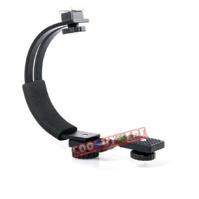 100% Nova Câmera C-Forma Suporte para Flash LED luz de Vídeo DC DSLR SLR Camera mini DV Camcorder Hot-Sapato e Flash gatilhos