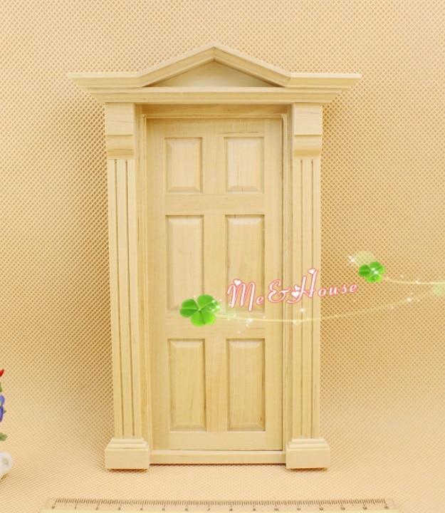 MINI Doll house Mini furniture decoration accessories white blank plain six grid solid wood door