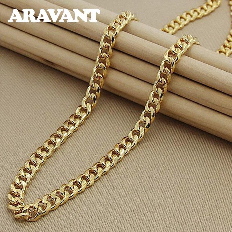 Collar de cadena de eslabones de oro plateado 925 para hombres, joyería de moda al por mayor de 50cm