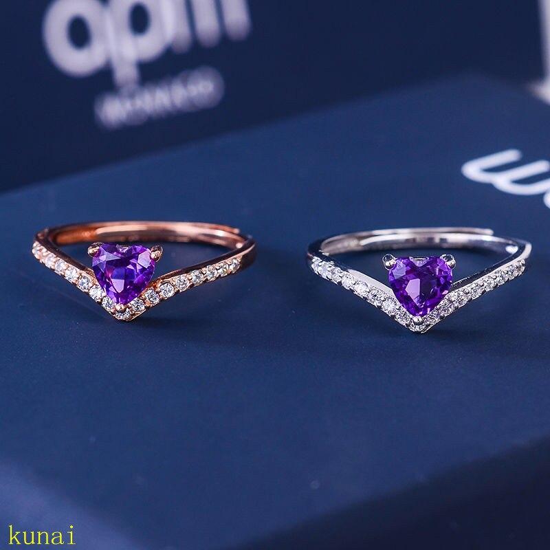 KJJEAXCMY fine jewelry 925 anel de prata ametista jóias 2 cores opcionais. vb