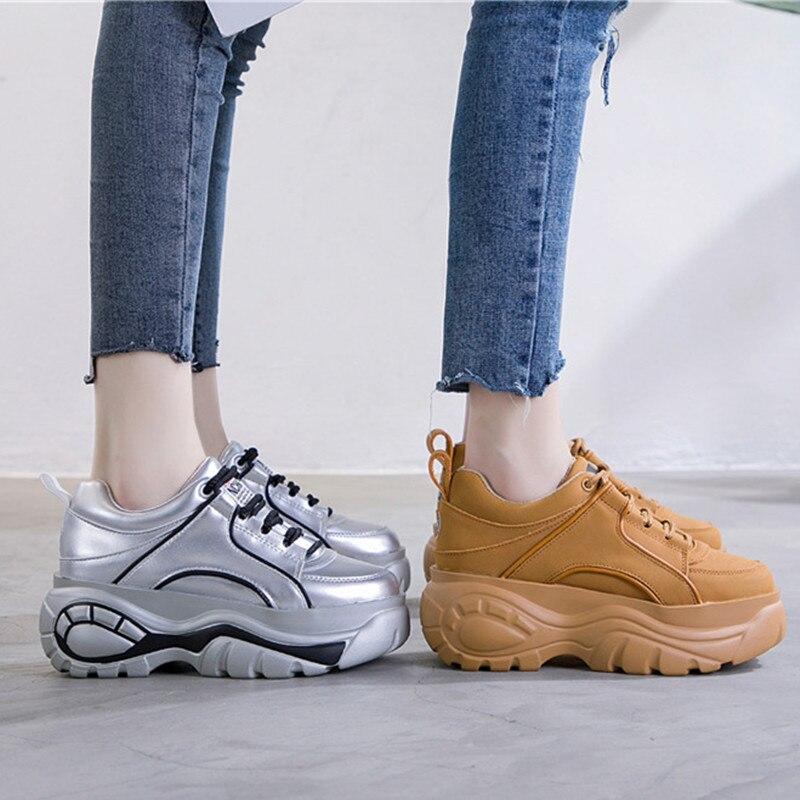 Zapatillas de deporte para mujer, moda Otoño Invierno 2019, zapatillas de deporte con plataforma, zapatos casuales Retro gruesos de marca para mujer, zapatos deportivos de cuero para mujer