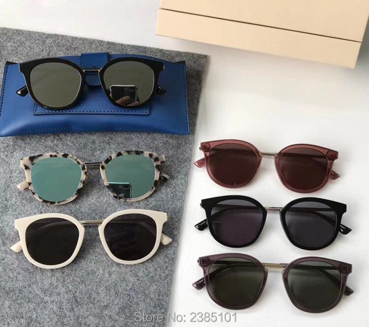 Lunettes de soleil en acétate pour femmes   Lunettes de soleil, Vintage classique, rond, logo V, verre homme, oculos DIM, avec boîte en cuir bleu, 2018
