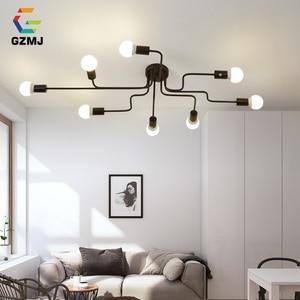 GZMJ 4/6/8 Heads Vintage Metal Ceiling Lights E27 Bulb Retro Iron Ceiling Lamp for Living Room Industrial Home Light Fixtures