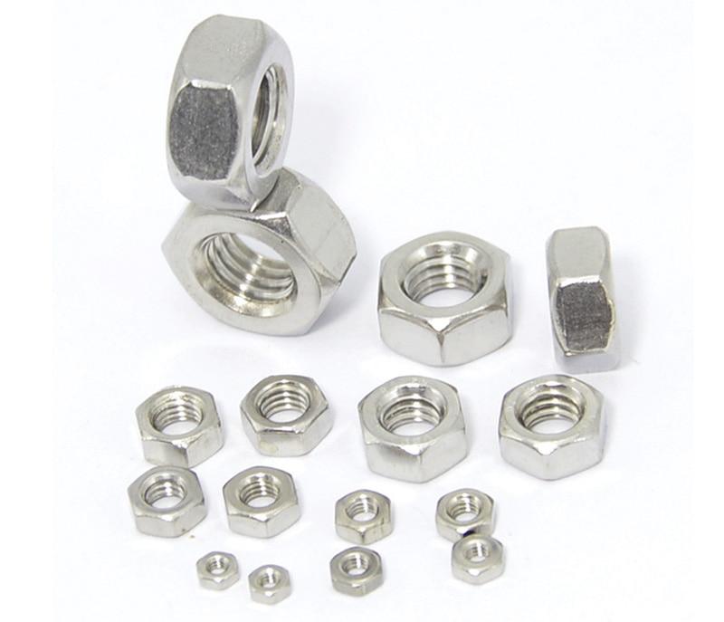 50 Uds DIN934 M2 M2.5 M3 M4 M5 M6 tuerca 304 rosca métrica tuerca hexagonal de acero inoxidable tuercas hexagonales