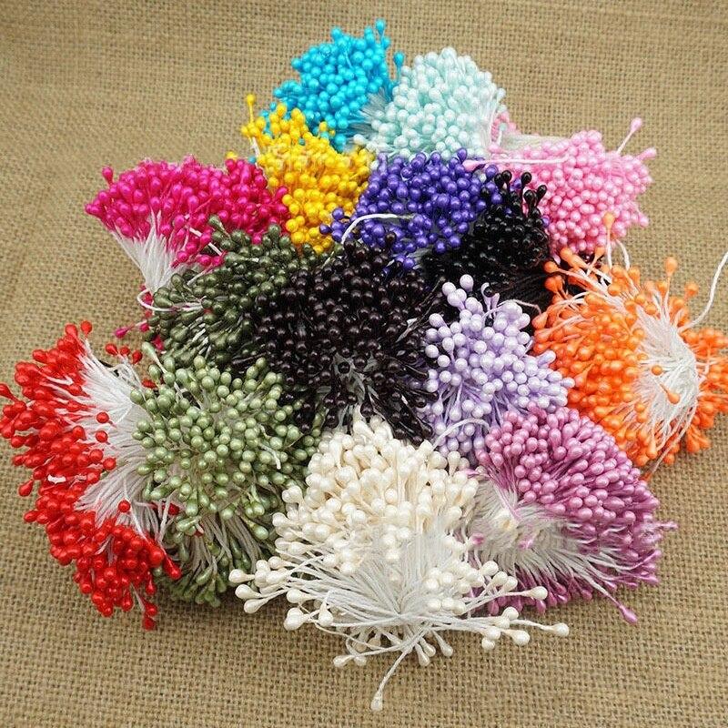150 Uds 55mm Mini estambre flores artificiales hechas a mano para la decoración del hogar de la fiesta de boda DIY accesorios de libro de recuerdos de Navidad NS031