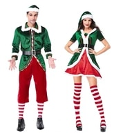 adult couple christmas elf costume green elf cosplay costume santa claus costume xmas party dress for women men plus size 2xl