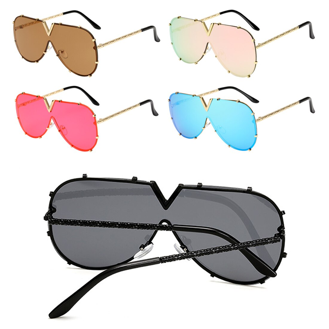 Fashion V Oversized Sunglasses Men Women Mirror Driving Sunglass Eyewear 2019 Luxury Brand Cool Metal Frame UV400 Sun Glasses