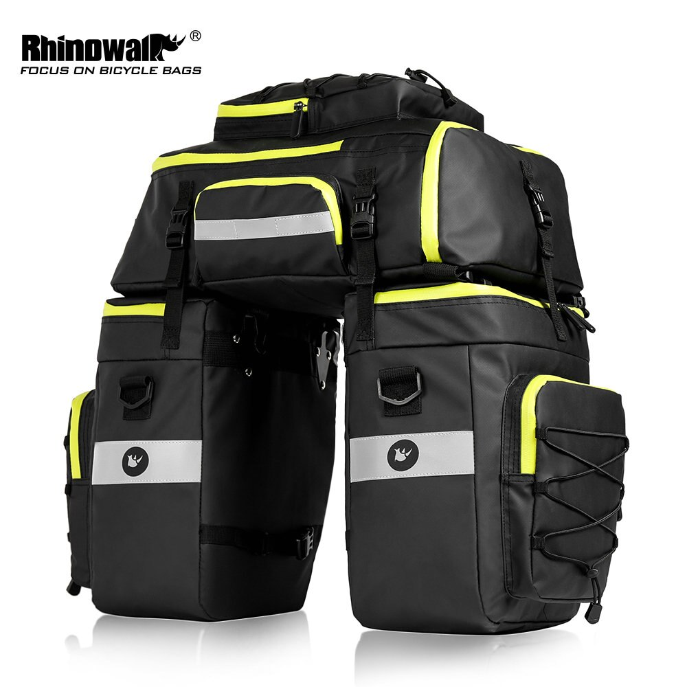 Rhinowalk 75l mtb bicicleta assento traseiro tronco saco 3 em 1 multifuncional pannier à prova ddouble água dupla lateral ciclismo bagagem pannier